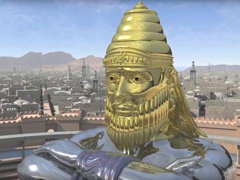 Babylone est représentée par la tête en or de l'immense statue que Nébucadnetsar reçoit en vision en 604 av J-C. L'or, le métal le plus précieux, est associé à la grandeur de Babylone surnommée ville mythique, ville des dieux, merveille du monde.