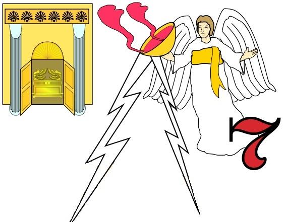 """Les rois des nations de toute la terre sont symboliquement rassemblés à Harmaguédon pour la grande guerre finale du Tout-Puissant. Le septième ange verse sa coupe remplie de la colère de Dieu dans l'air. Une voix venant du trône dit « C'est fait !"""""""