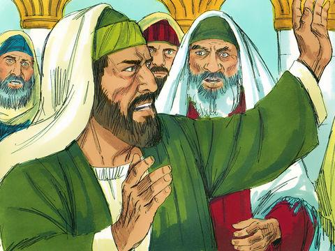 A Corinthe, les Juifs injurient Paul qui leur dit alors : « Aussi il secoua contre eux la poussière de ses vêtements et leur dit : Si vous êtes perdus, ce sera uniquement de votre faute. Je n'en porte pas la responsabilité.