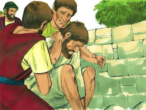 Les compagnons chrétiens de Paul viennent le relever. Il a survécu à la lapidation par les Juifs haineux.