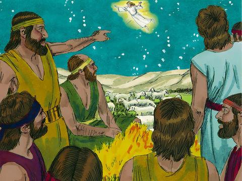 A la naissance de Jésus à Béthléem, les anges exultent de joie.