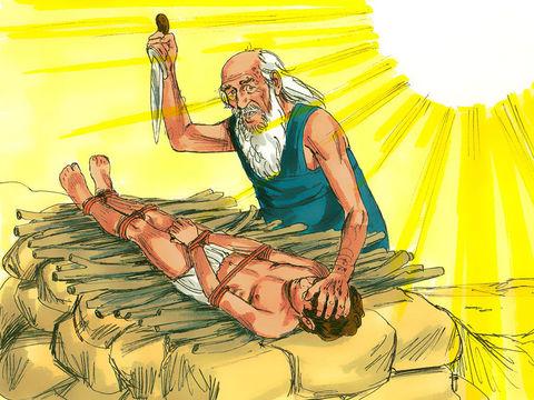 C'est un ange qui a arrêté la main d'Abraham alors qu'il s'apprêtait à sacrifier son fils Isaac en lui disant : «Ne porte pas la main sur l'enfant et ne lui fais rien, car je sais maintenant que tu crains Dieu et que tu ne m'as pas refusé ton fils unique.