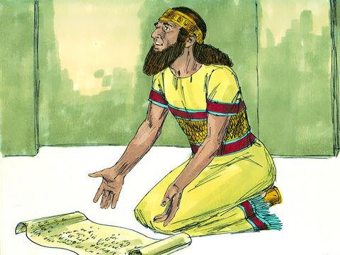 Le roi Ezéchias prie Jéhovah et lui montre le message insultant de Sennashérib qui affirme que Jéhovah ne sauvera pas Israël.