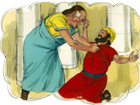 Parabole de Jésus: le débiteur impitoyable. Le compagnon le supplie mais finit par être jeté en prison à son tour. En apprenant cela, le roi rappelle le débiteur impitoyable et lui réclame à nouveau tout ce qu'il devait.