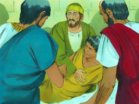 Paul descend rejoindre le garçon et le ressuscite. Paul est descendu, s'est penché sur lui et l'a pris dans ses bras en disant: « Ne vous inquiétez pas, car son âme est en lui.» ou sa vie est en lui ou il est vivant !