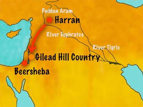 Jacob et sa famille quittent Laban à Harran pour retourner à Canaan