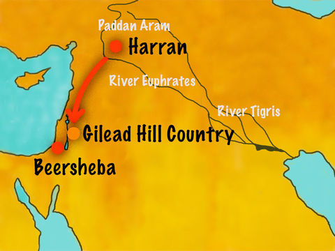 Dieu conseille alors à Jacob de partir et retourner dans son lieu de naissance. Jacob et sa famille quittent Laban à Harran pour retourner à Canaan.