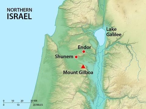 La vallée de Jizréel. Le mont Guilboa, Sunem et En-Dor où Saül va consulter une voyante. L'esprit lui prédit la mort pour lui et ses fils.