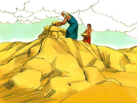 Abraham obéit à Dieu. Il est prêt à sacrifier son fils Isaac quand un ange de Jéhovah arrête sa main et lui dit de ne pas faire de mal à l'enfant.