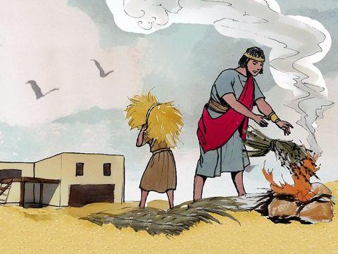 Le bon blé, les chrétiens fidèles, est récolté. Tandis que la mauvaise herbe est brûlée au feu.
