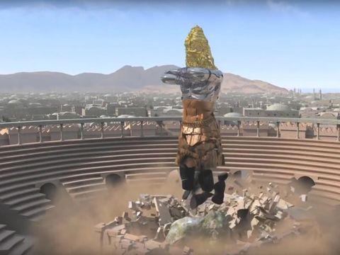 Une énorme pierre se détacher d'une montagne qui vient heurter violemment les pieds de la statue géante et pulvériser le fer, le bronze, l'argile, l'argent et l'or. Il s'agit du Royaume de Dieu qui va détruire tous les royaumes de la terre.