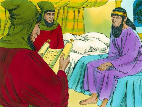 Cette nuit-là, le roi ne trouve pas à trouver le sommeil. Il demande à ce qu'on lui lise le registre des évènements importants. La lecture rappelle les révélations qu'a faites Mardochée à propos des deux eunuques qui avaient eu l'intention de tuer le roi.