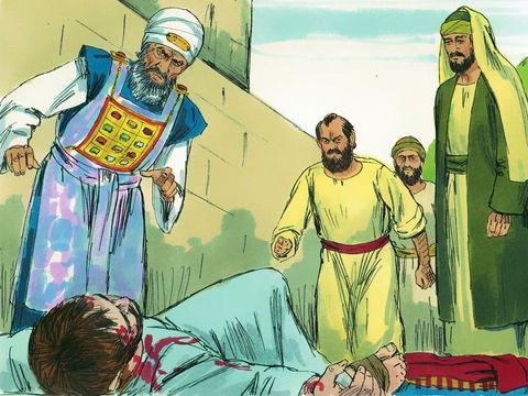 Etienne reçoit une vision du ciel dans laquelle il contemple Jésus debout à la droite de Dieu. Cela attise encore plus la haine des Juifs qui décident de le lapider. Saul, plus tard appelé Paul, apôtre des nations, assiste à sa lapidation.