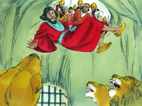Le roi ordonne alors que les accusateurs de Daniel soient amenés et jetés à leur tour dans la fosse avec leur famille. Tous se font instantanément dévorer par les lions avant même d'atteindre le fond de la fosse
