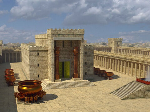 Le Temple de Salomon est le premier temple de Jérusalem dédié au culte de Jéhovah (ou Yahvé ou Yahweh). Le sanctuaire est couvert intérieurement d'or pur. Salomon utilise 18 tonnes d'or pur pour couvrir la salle du Très-Saint. La construction dure 7 ans.