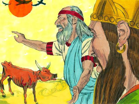 Voilà 3 ans que le pays souffre de sècheresse et de famine. Pourtant, chaque jour, à la table de la reine Jézabel et du roi Achab, mangent 450 prophètes de Baal et 400 prophètes d'Astarté. Sur le mont Carmel, le prophète Elie défie les adorateurs de Baal.