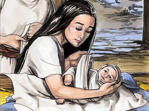 Alors qu'ils s'étaient rendus à Béthléem pour se faire recenser, Marie accouche de Jésus, dans une étable.