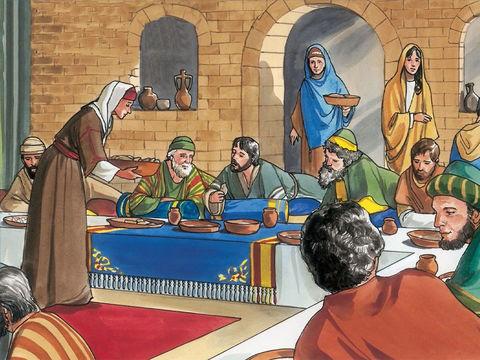 Jésus retrouve à Béthanie son ami Lazarre qu'il avait ressuscité. Les deux amis sont à table chez un dénommé Simon le lépreux, Marie, sœur de Lazarre, prend 1 demi-litre de parfum de nard pur très cher pour en verser sur la tête et les pieds de Jésus.