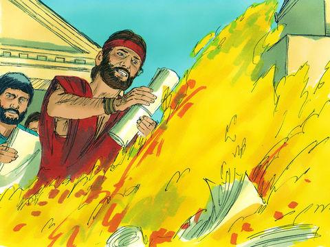 Puis Paul passe 3 années à Éphèse où il s'associe à une douzaine de chrétiens en travaillant avec ferveur. A Éphèse, les convertis brûlent tous leurs livres de sorcellerie. Paul y est confronté à des émeutes soulevées par des orfèvres.