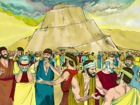 Tous les humains ne parlaient qu'une seule langue. Afin de mettre un terme à leur entreprise, Dieu confond les langages, de sorte que les hommes ne peuvent plus communiquer ni se comprendre. L'unité contre Dieu est rompue, les hommes se séparent.