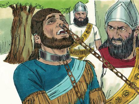 Même Manassé, le plus horrible de tous les rois (avec Achaz), n'a pas subi la destruction qu'il méritait parce qu'il s'est humilié. Yahvé envoya l'armée du roi d'Assyrie. Ils immobilisèrent Manassé avec des crocs, ils le lièrent avec une chaîne en bronze.