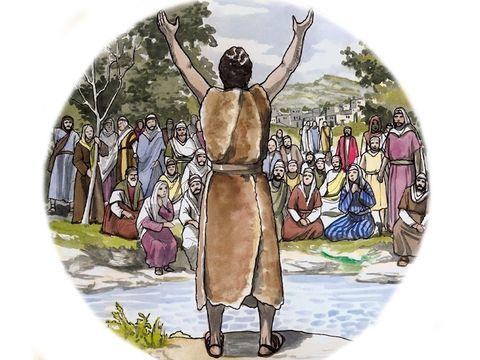 Jean le Baptiste prépare le peuple à accepter Jésus, le messie. Il est vêtu de peaux de bête et se nourrit de sauterelles et de miel.