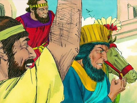Mardochée est ainsi récompensé par des honneurs devant un Haman dépité qui le conduit, monté sur le cheval sur la place de la ville en criant : «Voici comment l'on agit pour l'homme que le roi veut honorer!»