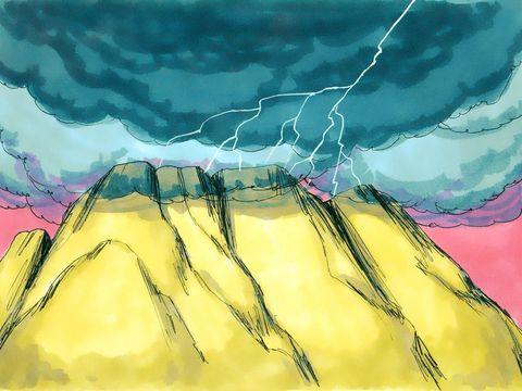 Dans le désert, le Tout-Puissant qui vient d'humilier les dieux d'Egypte communique pour la 1ère fois avec son peuple: Israël. Jéhovah vient vers Moïse dans une épaisse nuée. La fumée sur la montagne évoque la présence et à la gloire du Tout-Puissant.