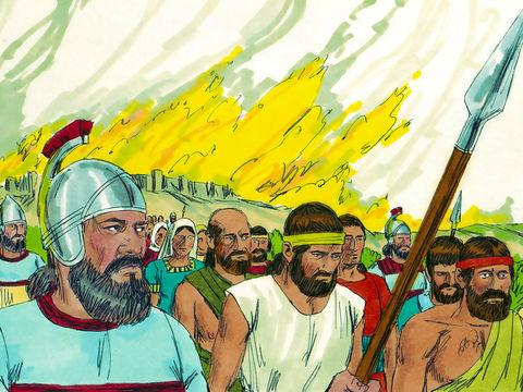 En 587 av J-C, Nébuzaradan, le chef des gardes emmène en exil à Babylone le reste de la population et ne laisse qu'une partie des pauvres du pays comme vignerons et agriculteurs.