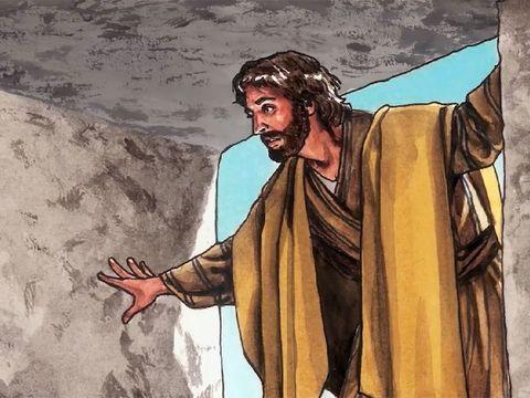 Pierre est le premier à entrer dans le tombeau, il est vide. Jésus a ressuscité.