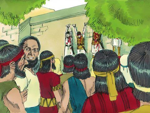 Les Philistins accrochent les cadavres de Saül et de ses fils.