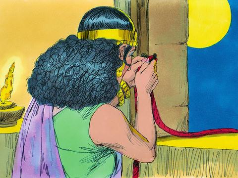 Rahab devait attacher un cordon rouge à sa fenêtre afin d'indiquer quelle maison devait rester debout et ne pas s'écrouler en même temps que la muraille lorsque les 7 prêtres sonneront des 7 trompettes.