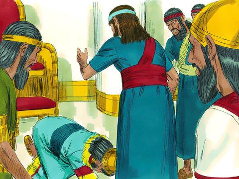 Le roi Nébucadnetsar est impréssionné et se prosterne devant Daniel qui a su interpréter le rêve.
