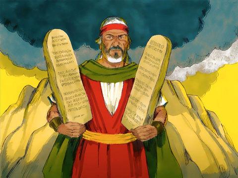 Moïse redescend de la montagne en compagnie de Josué qui l'attend, en tenant les deux tables du témoignage écrites du doigt de Dieu.