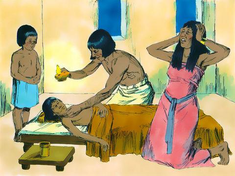 Jéhovah envoie un ange exterminateur pour faire mourir tous les premiers-nés d'Egypte.