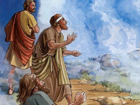 Il parlait encore quand une nuée vint les couvrir; les disciples furent saisis de frayeur en les voyant disparaître dans la nuée. Et de la nuée sortit une voix qui dit: «Celui-ci est mon Fils bien-aimé: écoutez-le!»