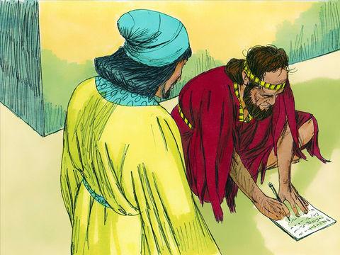 Mardochée transmet à Esther une copie de l'édit proclamé dans Suse en vue de leur extermination en la chargeant de se rendre chez le roi pour lui demander grâce et plaider la cause de son peuple