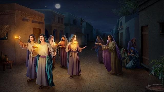 10 vierges ou 10 jeunes filles attendent l'époux dans la parabole de Jésus des 10 jeunes filles sottes et avisées. Seule la moitié d'entre elles sont assez prévoyantes pour prendre de l'huile pour leur lampe (L'huile symbolise l'esprit saint).