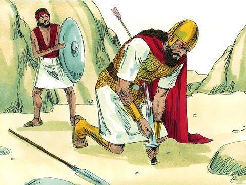 Saül est blessé par les Philistins. Il se jette sur son épée pour mourir et ne pas être pris par les Philistins.