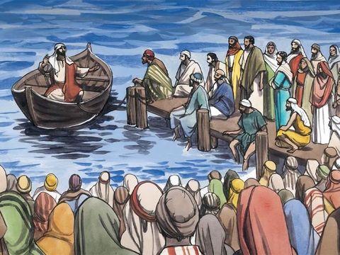 Des foules venaient écouter les paroles pleines de sagesse de Jésus. Les foules étaient ébahies de l'enseignement du Christ.