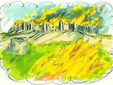 La population est emmenée en captivité à Babylone en Juillet 586 av J-C. Les armées babyloniennes de Nébucadnetsar (605-562) pénètrent dans la ville et détruisent le Temple de Jérusalem le 7ème jour du 5ème mois, la 19ème année du règne de Nébucadnetsar.