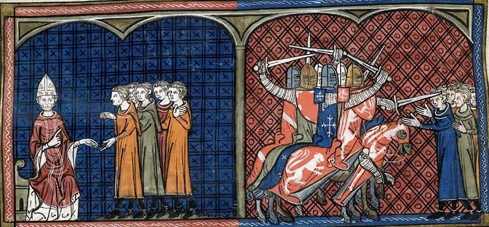 Les croisades albigeoises, entre 1208 à 1244, sont lancées par le pape Innocent III contre les hérétiques cathares et vaudois du Languedoc. Elles se terminent avec le massacre de 215 Cathares qui se réfugient à Montségur et périssent sur le bûcher.