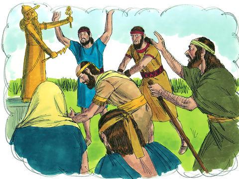 Les Danites dressent la sculpture sacrée qu'ils ont volée et en font leur dieu. Jonathan, le petit-fils de Moïse et ses descendants se mettent au service de l'idole en tant que prêtres pour la tribu des Danites.
