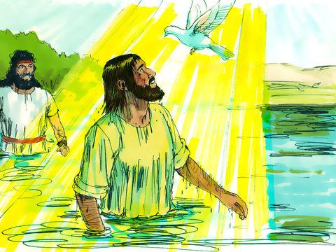 Quand Jésus se fait baptiser dans le Jourdain, l'esprit saint de Dieu descend sur lui comme une colombe.