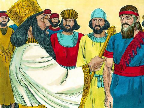 Le gouverneur Thathnaï envoie un rapport à Darius 1er en demandant au roi de vérifier l'existence d'un décret de Cyrus concernant la reconstruction du Temple de Jérusalem dans les archives royales. Darius 1er fait rechercher le décret de Cyrus.