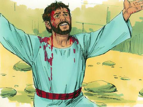 Alors qu'ils lui jettent des pierres pour le mettre à mort, Etienne prie avec courage jusqu'à son dernier souffle.