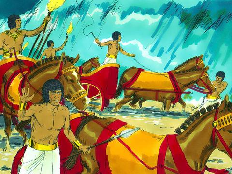 Les Egyptiens et leurs chars ont poursuivi les Israélites entre les deux murs de mer, puis la mer Rouge est retombée sur eux et les a engloutis.