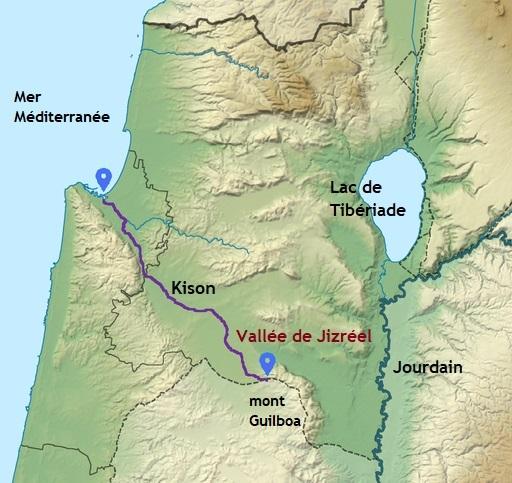 La vallée de Jizréel ou vallée de Méguiddo. Le torrent Kison ou Kishon prend sa source au mont Guilboa et se déverse dans la Méditerranée. Jourdain, lac de Tibériade.