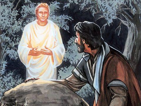 Un ange vient fortifier Jésus dans le jardin de Gethsémané. Jésus porte le salut du monde entier sur ses épaules.