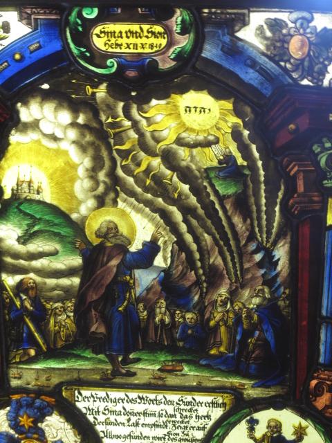 Le Tétragramme du Nom divin - YHWH - Yahvé, Yahweh ou Jéhovah - Vitrail aux armes de Georges Müller - Moïse recevant les tables de la Loi - Louvre, Paris
